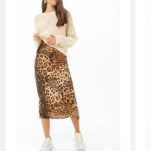 Dresses & Skirts - New* Leopard satin midi skirt